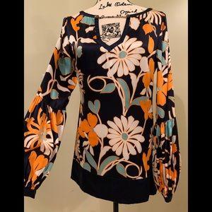 Arden B women's silk long sleeve print blouse Sz S